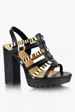 Sandały na słupku Carmen Blk/Beige Pu