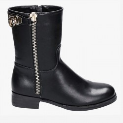 Botki Perry Black Gold Zipper Pu