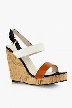 Sandały na koturnie Juliette Brown/White