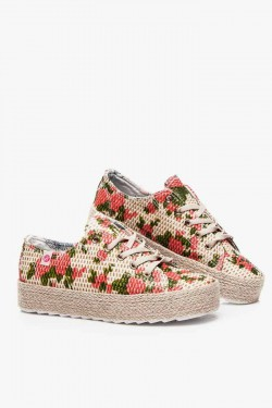 Espadryle na Platformie Lace Flower Red