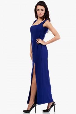 Sukienka maksi z rozcięciem na boku chabrowa
