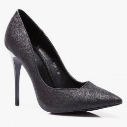 Szpilki Miss Asymmetric Black Glitter