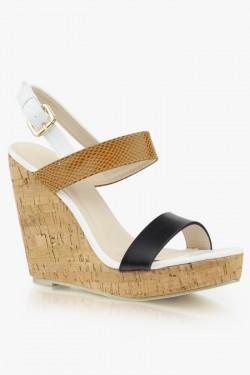 Sandały na koturnie Juliette Beige/Black