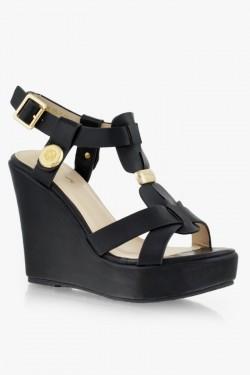 Sandały na koturnie Sarah Black Pu