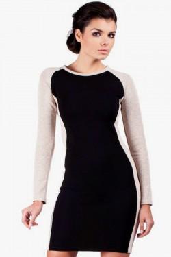 Klasyczna dwukolorowa sukienka Sophie 2 mini black/beige