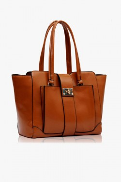 Torebka Damska Brown Front Pocket Tote Handbag