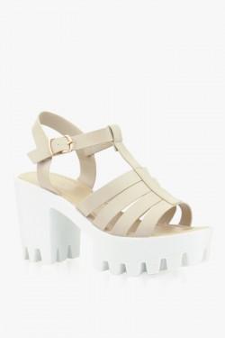 Sandały Fancy Beige/White Pu