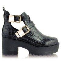 Botki Azealia Cut Out Black Croc Pu