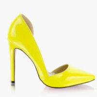 Szpilki Classic Miss Side Cut Yellow Pat