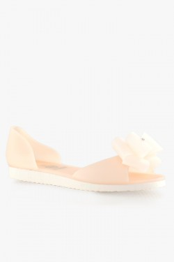 Balerinki Bow Two Colors Beige/Nude