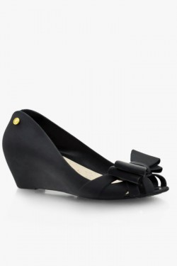 Balerinki Bow Wedge Black