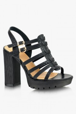 Sandały na słupku Carmen Black Pu