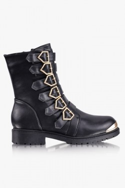 Workery Whiskey Buckled black Booties