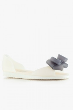 Balerinki Bow Two Colors White/Grey