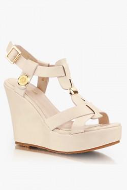 Sandały na koturnie Sarah Beige Pu