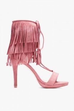 Wiązane Sandałki Rivet Pink