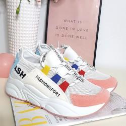 Białe Adidasy Różowy Zamszowy Nosek 8381