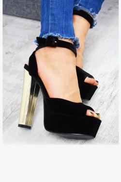 Welurowe Czarne Sandały Złoty Obcas 7534
