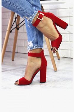 Czerwone Sandały - Zamszowe na Słupku 7394