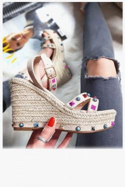 Beżowe Zamszowe Sandały na Koturnie - Kolorowe Kamienie 8275