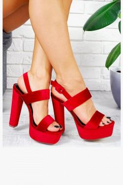 Welurowe Czerwone Sandały na Słupku 7803