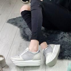 Ażurowe Adidasy na Koturnie Srebrne 9420