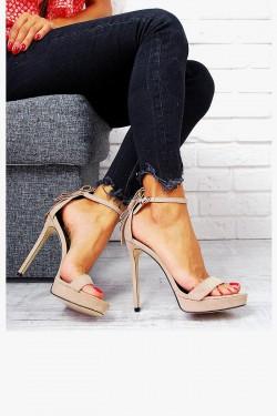 Beżowe Sandały Zamszowe Szpilka 7786