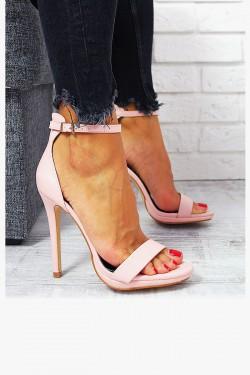 Zgrabne Różowe Sandały Smukła Szpilka 7718