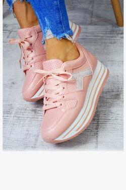 Trampki Różowe Adidasy na Koturnie Cyrkonie 7434