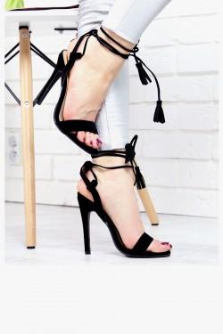 Czarne Sandały Wiązane na Kostce 7398