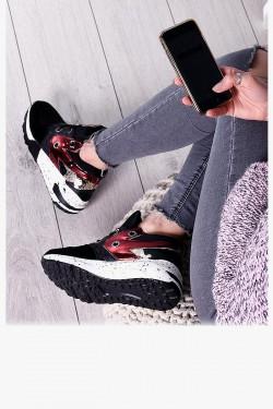 Czarne Zamszowe Trampki Adidasy Metaliczna Wstawka 7980