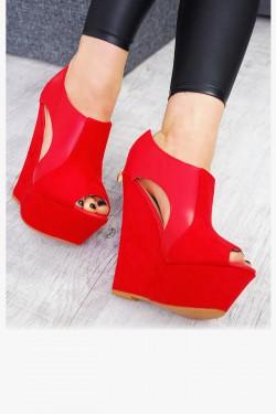 Sandały Czerwone Wycięcia Eko+Zamsz 7523