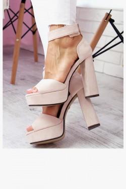 Sandały AMELIA Beżowe na Słupku