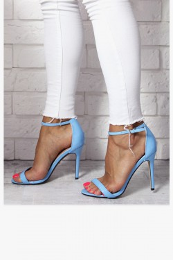 Sandały EMMA Błękitne Lakierowane na Szpilce