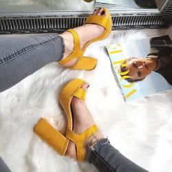 Żółte Zamszowe Sandały Na Słupku 8320