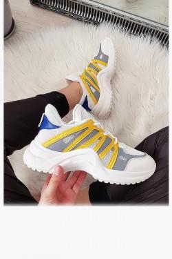 Trampki Biało Żółte Adidasy EkoSkóra 8048