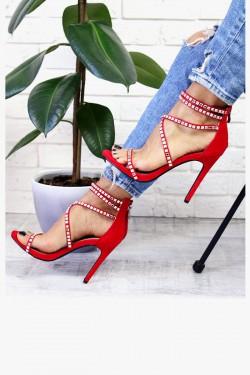 Czerwone Sandały Srebrne Kamienie 7402