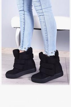 Trampki Czarne Ocieplane Sneakersy 7921