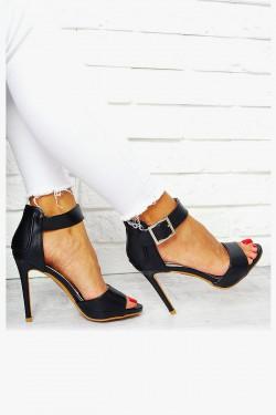 Sandały Czarne Srebrna Klamra EkoSkóra 7674