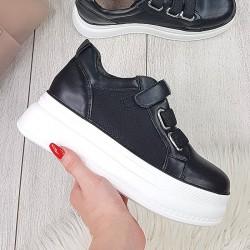 Trampki Czarne Adidasy na Rzepy 9845