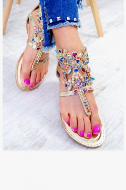Złote Sandały Japonki Ozdobione Cyrkoniami 7589