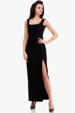 Sukienka maksi z rozcięciem na boku czarna