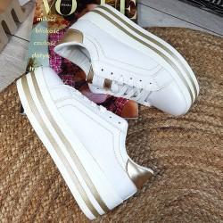 Trampki Sneakersy Biało Złote Eko-Skóra Creepersy 8846