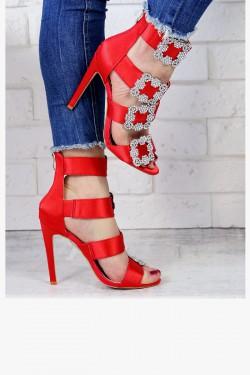 Czerwone Satynowe Sandały Zdobione Cyrkoniami 7253