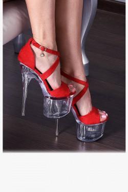 Sandały Czerwone Zamszowe Pole Dance 7892