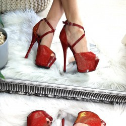 Czerwone Brokatowe Sandały Pole Dance 8373