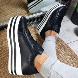 Trampki Sneakersy Czarne Eko-Skóra Creepersy 8859