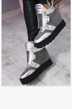 Zamszowe Szare Sneakersy 7285