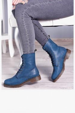 Niebieskie Skórzane Martensy - Sznurowane Botki 7979
