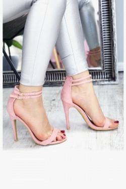Sandały Różowe Zamszowe 7346